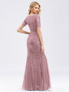 Delicate Embroidery Sequin Fishtail Evening Dress-Purple Orchid  2