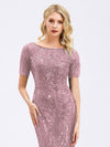 Delicate Embroidery Sequin Fishtail Evening Dress-Purple Orchid  4