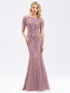 Delicate Embroidery Sequin Fishtail Evening Dress-Purple Orchid  1