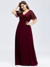 Plus Size Floral Lace Sequin Print Evening Dresses With Cap Sleeve-Burgundy 3