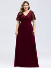 Plus Size Floral Lace Sequin Print Evening Dresses With Cap Sleeve-Burgundy 4