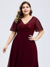 Plus Size Floral Lace Sequin Print Evening Dresses With Cap Sleeve-Burgundy 5