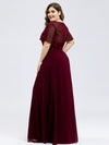 Short Sleeve Paillette Evening Dress-Burgundy 6