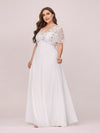 Plus Size Floral Lace Sequin Print Evening Dresses With Cap Sleeve-Cream 3