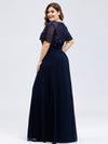 Plus Size Floral Lace Sequin Print Evening Dresses With Cap Sleeve-Navy Blue 2