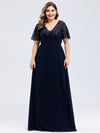 Plus Size Floral Lace Sequin Print Evening Dresses With Cap Sleeve-Navy Blue 4
