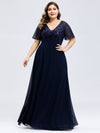 Plus Size Floral Lace Sequin Print Evening Dresses With Cap Sleeve-Navy Blue 1
