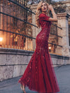 Floral Sequin Print Maxi Long Fishtail Tulle Dresses With Half Sleeve-Burgundy 2