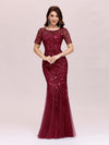 Floral Sequin Print Maxi Long Fishtail Tulle Dresses With Half Sleeve-Burgundy 3
