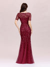 Floral Sequin Print Maxi Long Fishtail Tulle Dresses With Half Sleeve-Burgundy 4