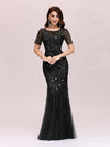 Floral Sequin Print Maxi Long Fishtail Tulle Dresses With Half Sleeve-Black 1