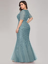 Floral Sequin Print Maxi Long Plus Size Mermaid Tulle Dresses-Dusty Blue  2