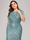 Floral Sequin Print Maxi Long Plus Size Mermaid Tulle Dresses-Dusty Blue  5
