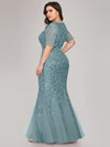 Floral Sequin Print Maxi Long Fishtail Tulle Dresses With Half Sleeve-Dusty Blue 5