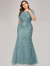 Floral Sequin Print Maxi Long Fishtail Tulle Dresses With Half Sleeve-Dusty Blue 4