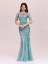 Floral Sequin Print Maxi Long Fishtail Tulle Dresses With Half Sleeve-Dusty Blue 1
