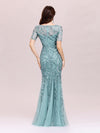 Floral Sequin Print Maxi Long Fishtail Tulle Dresses With Half Sleeve-Dusty Blue 2