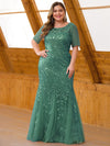 Floral Sequin Print Maxi Long Plus Size Mermaid Tulle Dresses-Dark Green 1
