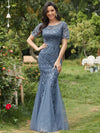 Floral Sequin Print Maxi Long Fishtail Tulle Dresses With Half Sleeve-Dusty Navy 1