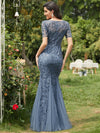 Floral Sequin Print Maxi Long Fishtail Tulle Dresses With Half Sleeve-Dusty Navy 2