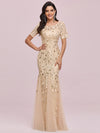 Floral Sequin Print Maxi Long Fishtail Tulle Dresses With Half Sleeve-Gold 4