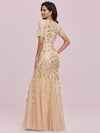 Floral Sequin Print Maxi Long Fishtail Tulle Dresses With Half Sleeve-Gold 5