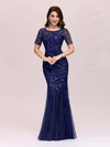 Floral Sequin Print Maxi Long Fishtail Tulle Dresses With Half Sleeve-Navy Blue 3