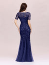 Floral Sequin Print Maxi Long Fishtail Tulle Dresses With Half Sleeve-Navy Blue 4
