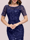 Floral Sequin Print Maxi Long Fishtail Tulle Dresses With Half Sleeve-Navy Blue 5
