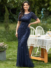 Floral Sequin Print Maxi Long Fishtail Tulle Dresses With Half Sleeve-Navy Blue 1