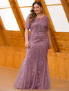 Floral Sequin Print Maxi Long Plus Size Mermaid Tulle Dresses-Purple Orchid  3
