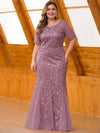 Floral Sequin Print Maxi Long Plus Size Mermaid Tulle Dresses-Purple Orchid  4