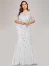 Floral Sequin Print Maxi Long Plus Size Mermaid Tulle Dresses-White 3