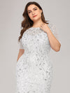 Floral Sequin Print Maxi Long Plus Size Mermaid Tulle Dresses-White  5