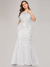 Floral Sequin Print Maxi Long Fishtail Tulle Dresses With Half Sleeve-White 4