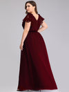 Ruffles Sleeves Evening Dress-Burgundy 7