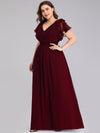 Ruffles Sleeves Evening Dress-Burgundy 8