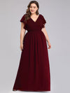 Ruffles Sleeves Evening Dress-Burgundy 9