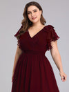 Ruffles Sleeves Evening Dress-Burgundy 10