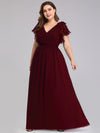 Ruffles Sleeves Evening Dress-Burgundy 6