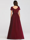 Ruffles Sleeves Evening Dress-Burgundy 2