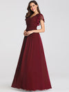 Ruffles Sleeves Evening Dress-Burgundy 3