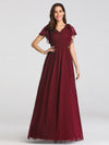 Ruffles Sleeves Evening Dress-Burgundy 4