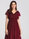 Ruffles Sleeves Evening Dress-Burgundy 5