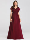 Ruffles Sleeves Evening Dress-Burgundy 1