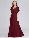 Long Flowy Evening Dress With V Neck-Burgundy 3