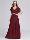 Long Flowy Evening Dress With V Neck-Burgundy  4