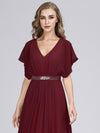 Long Flowy Evening Dress With V Neck-Burgundy  5