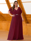 Long Flowy Evening Dress With V Neck-Burgundy 8