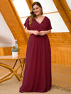 Plus Size Long Flowy Evening Dress With V Neck-Burgundy 4
